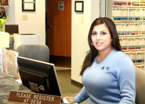woman at front desk
